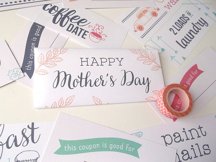 vouchers for mother's day gifts, like coffee dates, and doing laundry, made from white card, decorated with various patterns