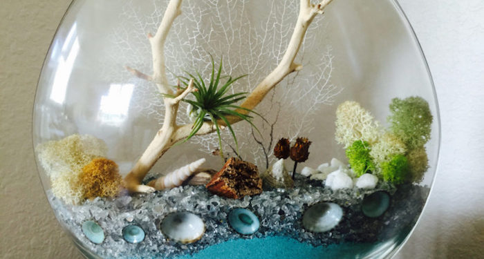 ivory white dried branch, with a small green tillandsia, inside a glass sphere, with turquoise sand, pale gray pebbles, and moss in different colors