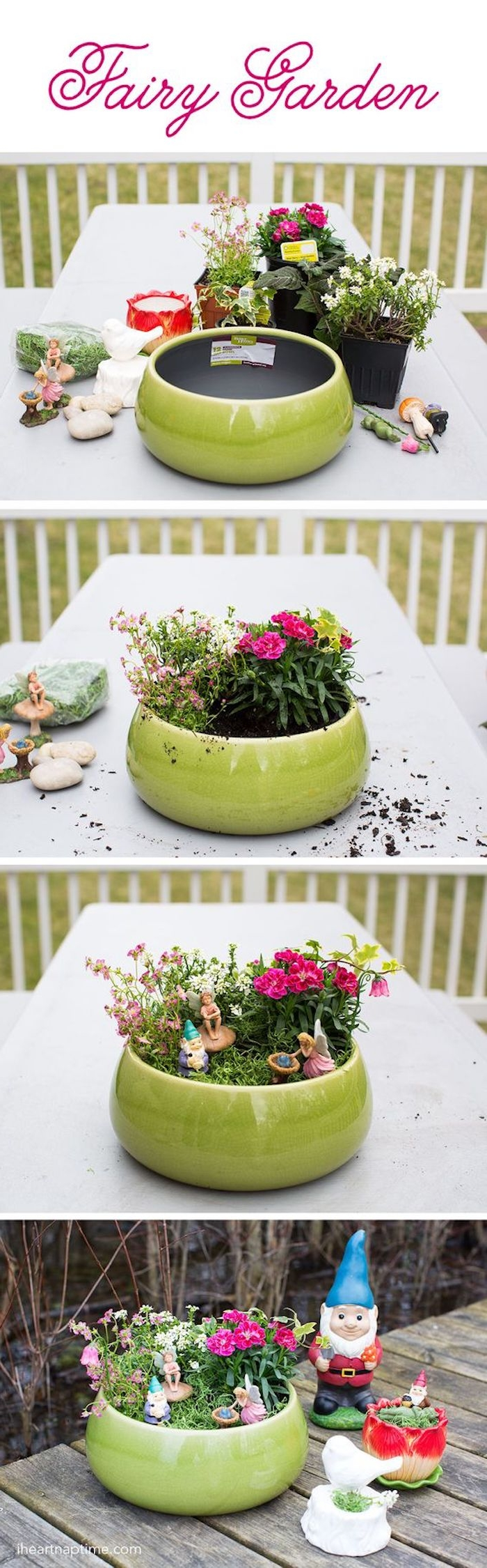 four photos explaining how to make a fairy garden, large green planting bowl, several potted plants and materials, arranging the plants, decorating with figurnines