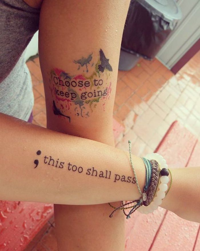 two arms with tattoos, featuring supportive messages, birds and watercolor-like details, semicolon tattoo ideas, beaded and woven bracelets