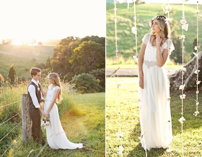 slim young woman, with long blonde hair, wearing an embroidered, retro lace gown, 1920s art deco style, wedding dresses for beach wedding, groom in black vest and pants, boho decorations in the countryside