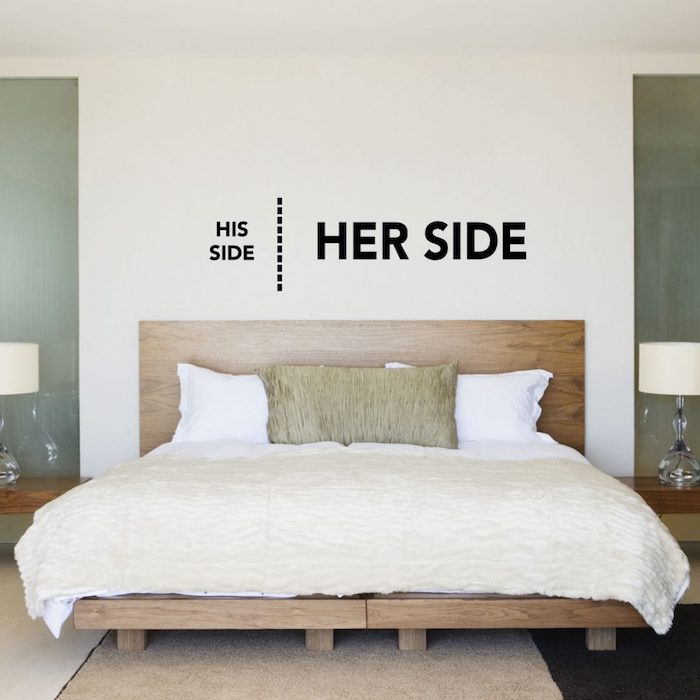 witty and funny writing, on white decorative board, his side her side, master bedroom ideas, plain wooden double bed