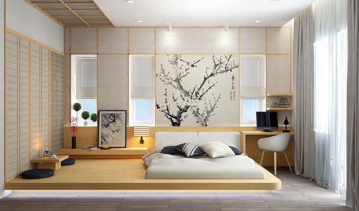 ink wash artwork, depicting cherry tree in blossom, on the wall of a japanese-style room, bedroom design, sliding doors with rice paper, light wooden furniture