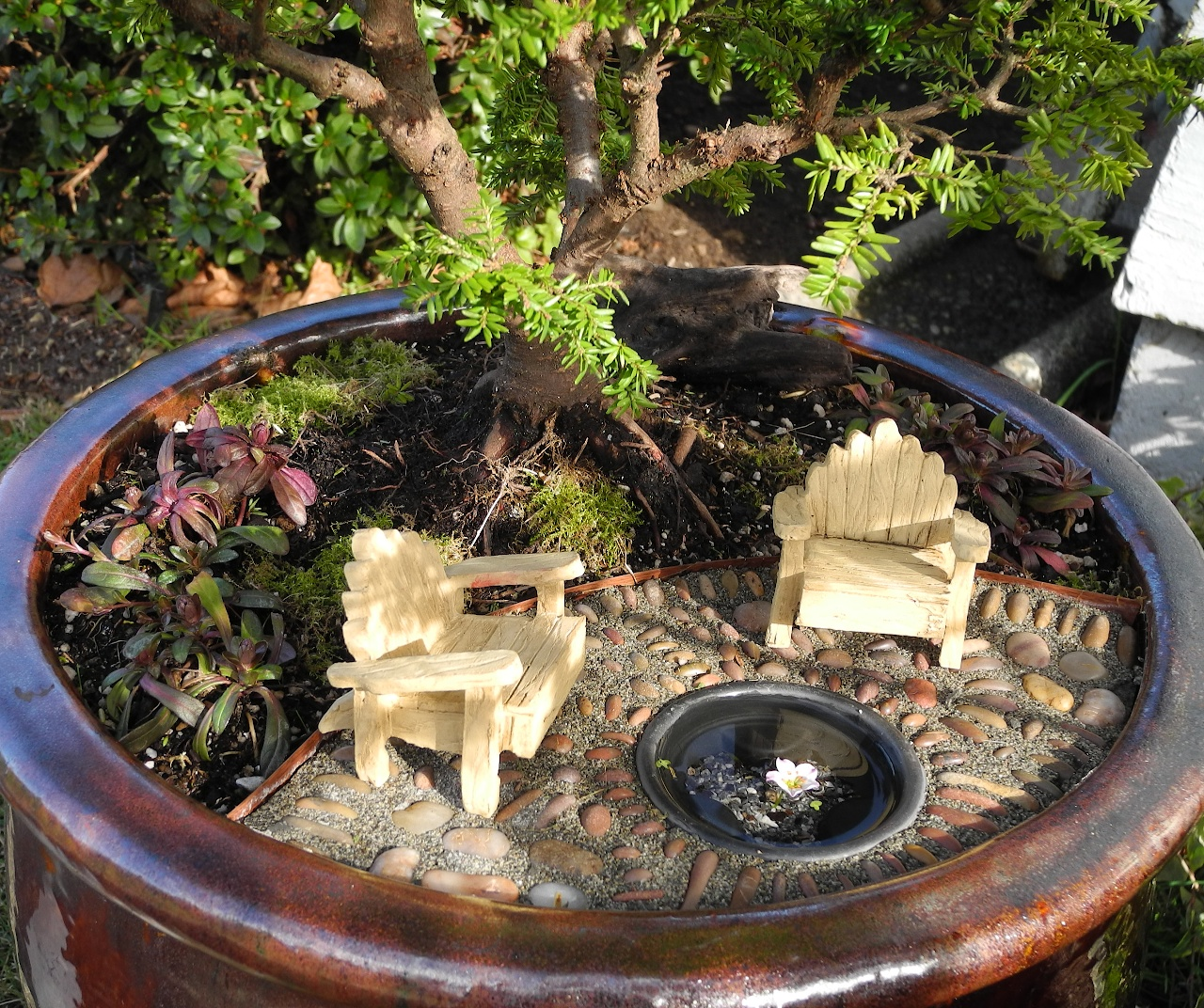 lounging chairs made of light wooden material, tiny figurines placed on pebbled surface, near miniature artificial pond, succulents and a bonsai tree