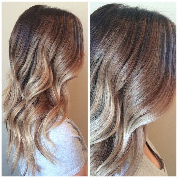 soft mid length hair, with loose waves, seen in medium shot and close up, balayage brown hair, on girl with pale grey t-shirt