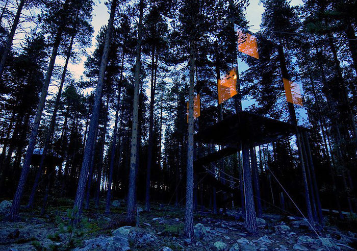 mirror walls on a cube-shaped tree house, illuminated from within, built on several trees, inside a forest, seen at dusk, cool tree houses