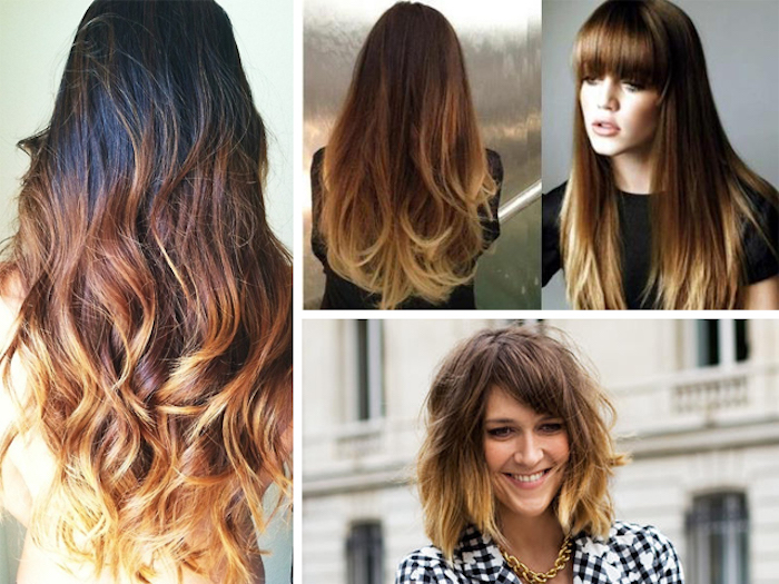 ombre effect on long hair, dark brown to honey blonde, with curled tips, caramel highlights on brunette hair, long with bangs, and short messy bob
