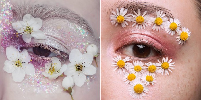 two close ups of brown eyes, one covered in white and purple iridescent glitter, with white mascara, and fresh cherry blossoms, the other with pale glossy pink eyeshadow, and fresh daisies, makeup looks