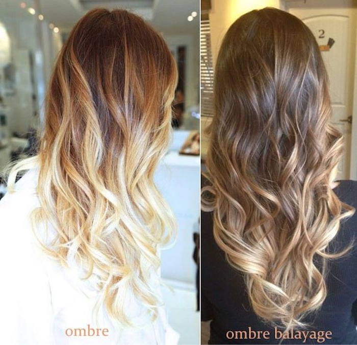 brown and blonde hair, two photos side by side, showing long brunette hair, with loose curls, and light blonde ombre effect, and a darker brown hair, with loose curls and blonde balayage