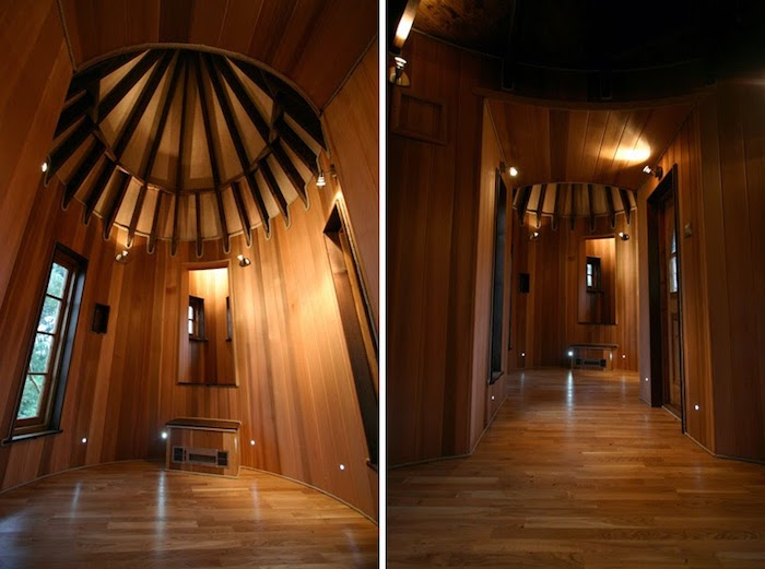 two images showing a tree house interior, from different angles, wooden paneling and floor, mirror and a window, treehouse ideas, unfurnished living space