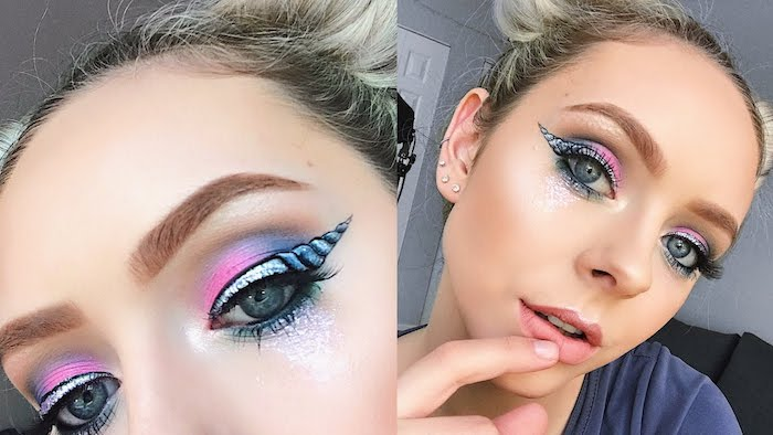 eye make up painted to look like a horn, in black and light blue and silver, with glitter and blue and pink eyeshadow, unicorn makeup