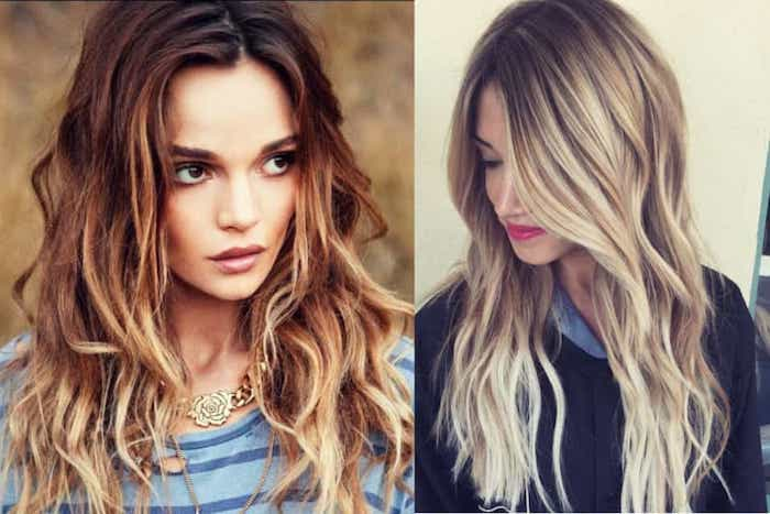 messy auburn hair, with curls and blonde highlights, and long brunette hair with light blonde balayage, on two women, with brown and blonde hair