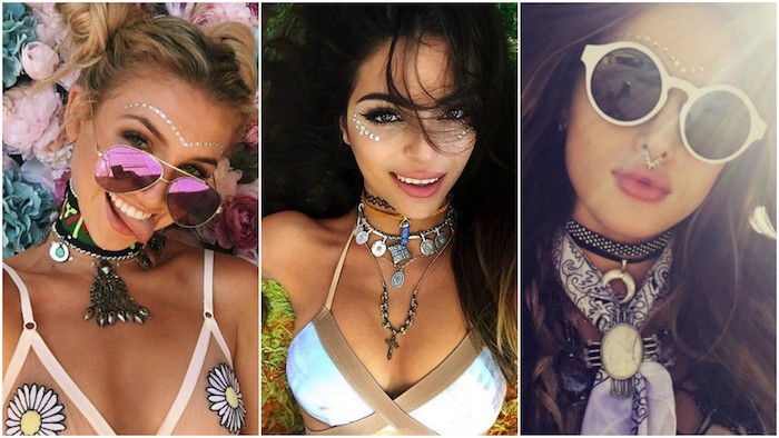 sunglasses and bikini tops, chunky boho jewelry and accessories, worn by three young women, with different hairstyles, all wearing face paint