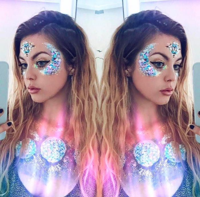 collage of a mirrored image, showing young woman, with brunette hair and blonde balayage, face and body decorated with blue and pink body glitter, creating different shapes