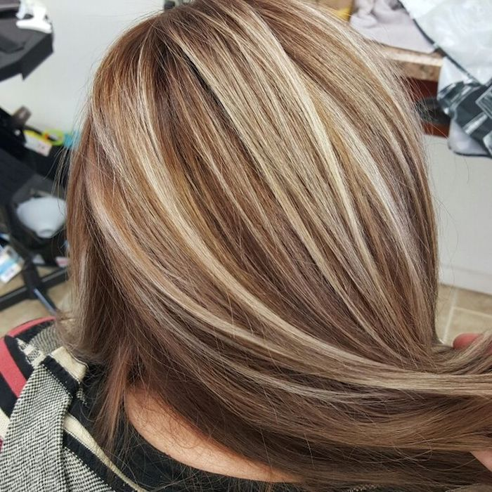 milk chocolate brown hair, long and smoothly straightened, and decorated with platinum blonde highlights, seen from the back