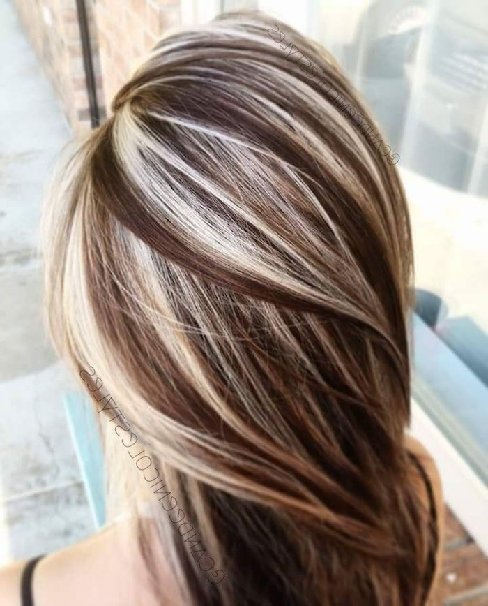 glossy medium length hair, silky and straight, chocolate brown with platinum blonde highlights, seen from above