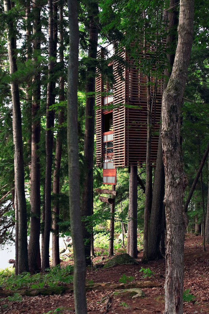 thick green forest, with a wooden tree house, in red and beige, built around several trees, treehouse ideas, suspended high above the ground