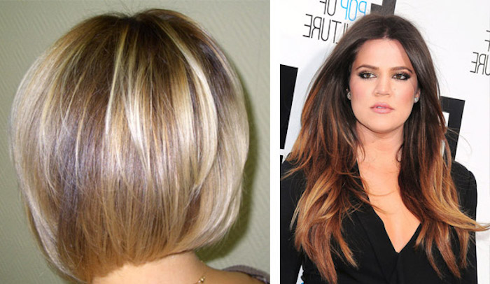 short voluminous bob, seen from the back, light brown hair with blonde highlights, next image shows one of the kardashians, with long wavy brunette hair, and dark blonde streaks