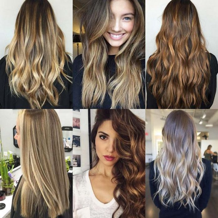 ideas for long hair, in six images, light brown hair with blonde highlights, curled and straightened, dark brunette hair, with waves and curls, seen from the front and back