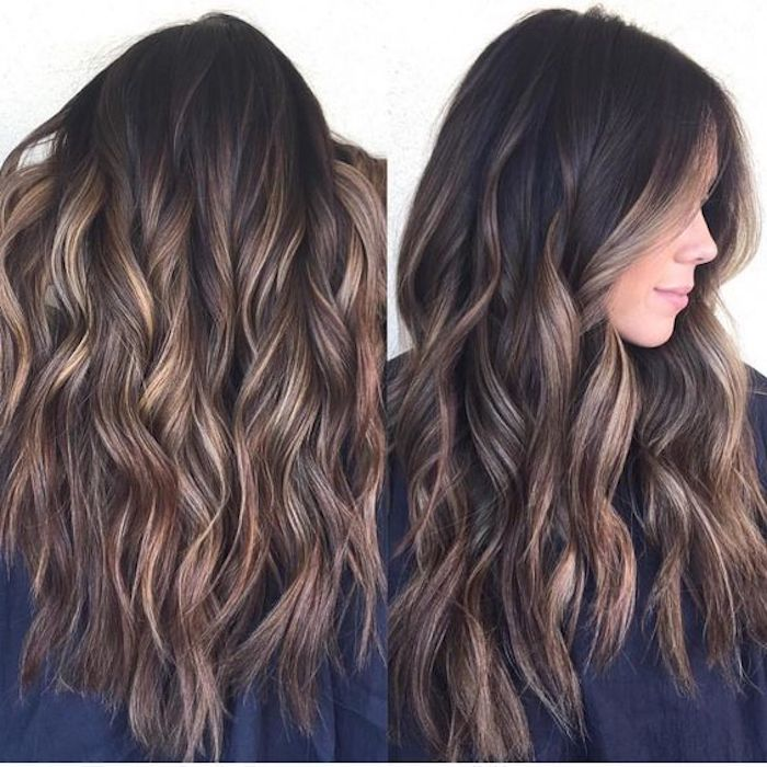 hair highlights in blonde, on dark brunette hair, with contrasting look, styled in loose curls, and seen from two angles, the back and the side