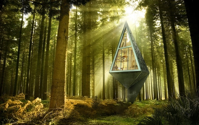 diamond-shaped pale green treehouse, made from metal and glass, placed inside a sunny forest, green fir trees, moss and grass
