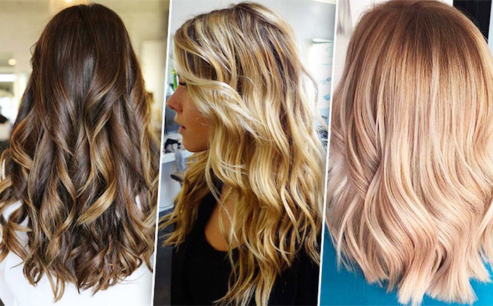 strawberry blonde hair, brown hair with blonde highlights or balayage, dark brunette curled hair, with dark brown streaks
