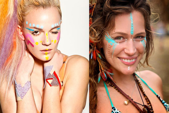tribal face paint, in bright colors, teal and pink, red and yellow, white and turquoise, worn by two different women