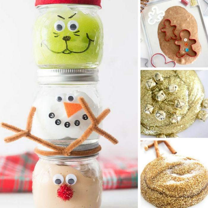 the grinch and a snowman, and Rudolph the red nosed reindeer, made from small jars, filled with green, white and brown elmer's glue slime, gold glitter goo, and cookie dough slime