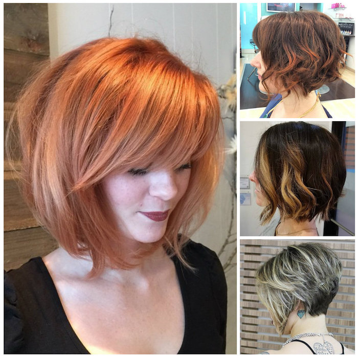 four images showing different bobs, short sassy haircuts, ginger red and straight, with side bangs, curled with highlights, dark brunette with platinum strands