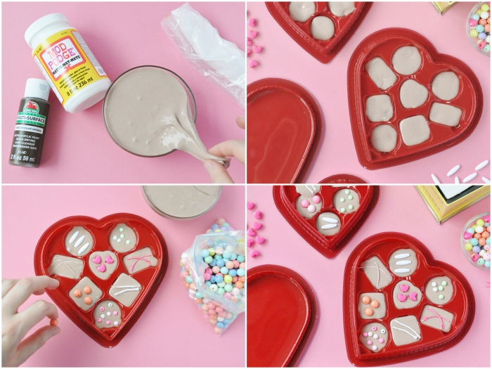 red plastic heart-shaped candy box, containing chocolates made from slime, slime recipe with borax, glue and shaving cream