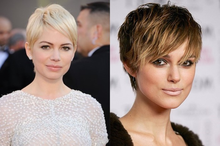 examples of short pixie cuts with bangs, haircuts for fine thin hair, blonde with deep side part, textured brunette with shaggy bangs, and blonde highlights