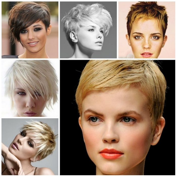 emma watson and other celebrities and models, wearing different pixie cuts, short and longer, textured and smooth, blonde and brunette, haircuts for fine thin hair
