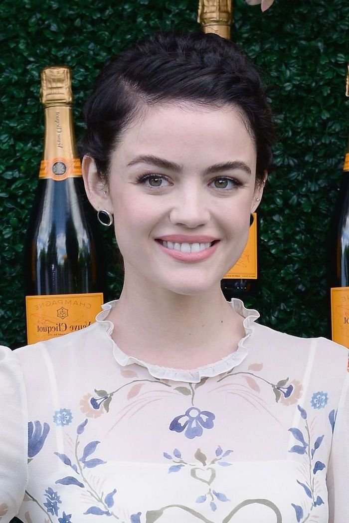 braided short dark brunette hair, haircuts for fine thin hair, worn by smiling young woman, wearing a floral blouse, and pale pink lipstick