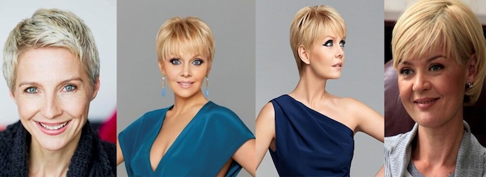 ideas for pixie cuts, textured with platinum highlights, and side swept bangs, straight with dark blonde roots, short sassy haircuts, shaggy with side part