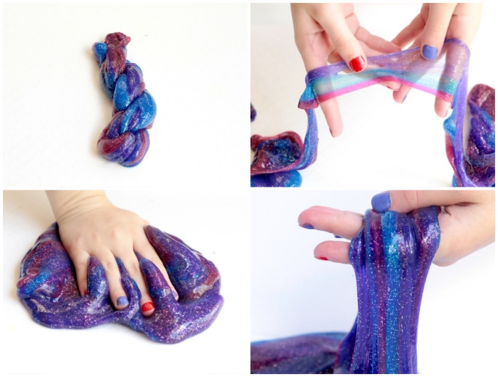semi-transparent goo, in glittering purple, with pink and blue streaks, how to make slime with glue, hands with red and blue nail polish