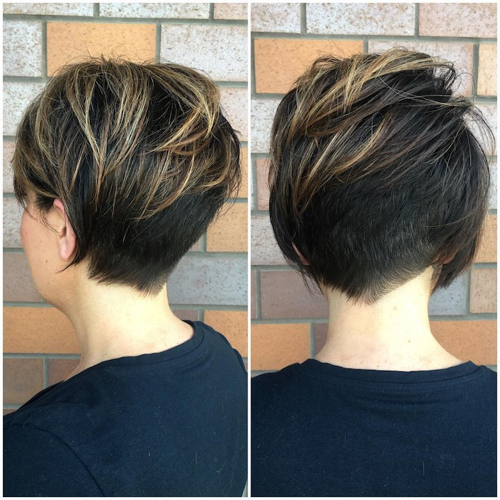back view of a textured, layered pixie cut, dark brunette with blonde highlights, very short in the back, and longer in the front, hairstyles for women with thin hair, worn by woman in black t-shirt