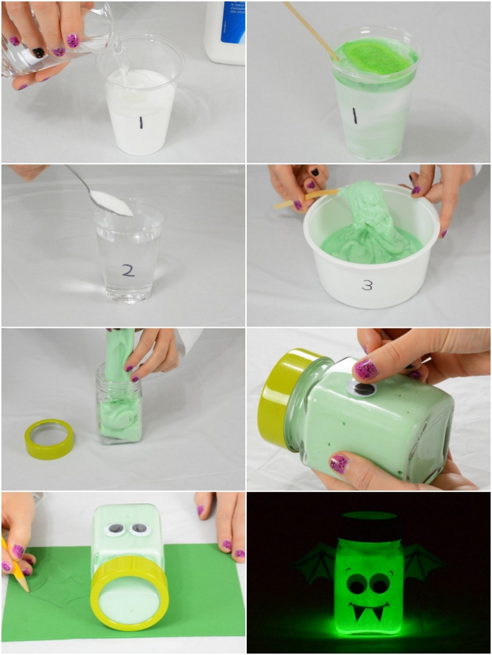 glow-in-the-dark slime in pale green, slime recipe with borax, process of making explained in eight images, adding the ingredients, pouring them into a jar and decorating