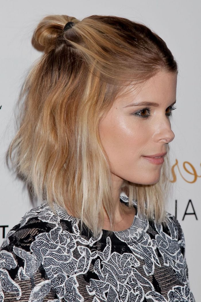 half bun or hun, worn by kate mara, blonde half up style, short hairstyles for fine hair, wearing a black top, with white floral embroidery