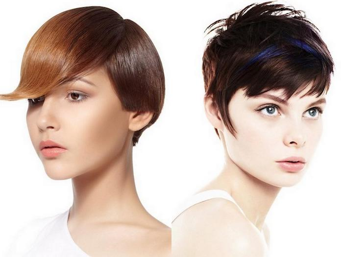 smooth chestnut-colored pixie cut, with long bangs, and ombre effect, short haircuts for thin hair, choppy brunette pixie, with shaggy bangs, and dark blue streaks