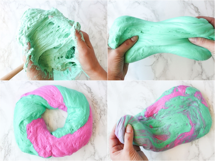 sticky and stretchy, pale mint green goo, kneaded by two hands, how to make slime, mixed with some hot pink goop, to make one big pile