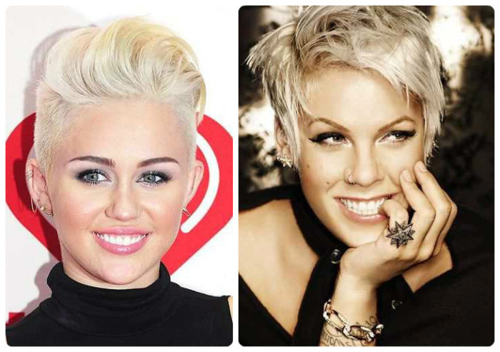 singers miley syrus and pink, with short platinum pixie cuts, one with shaved sides, and top styled into a pompadour, the other textured and messy