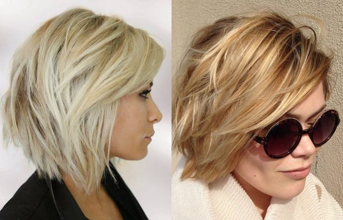 shaggy layered bob, with side swept bangs, in darker and lighter shades of blonde, on woman in profile, next image shows blonde woman, with textured bob, and large round sunglasses