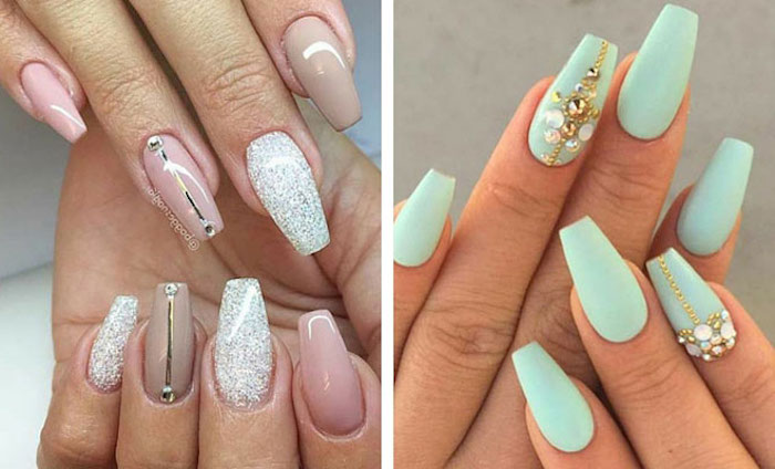 combination of pale nude pink, and light beige, decorated with glitter and rhinestones, on the coffin-style nails of two hands, next image shows long nails, with pale turquoise polish and rhinestones