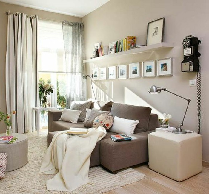 seven images in silver frames, on a pale beige wall, inside a bright living room, with laminate floor, and light beige rug, couches for small living rooms