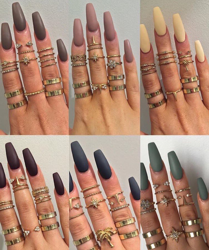 examples of long coffin nails, six images showing a hand, with lots of assorted rings, and long nails in different colors, beige and cream, navy and dark green, dark and light purple