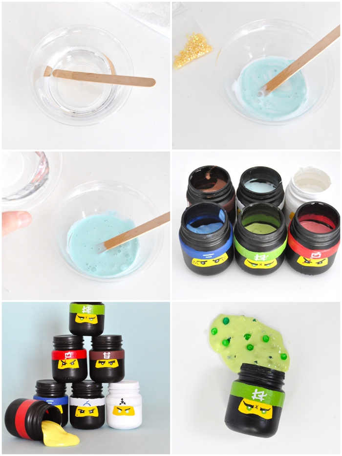 the process of making lego ninjago slime jars, adding the ingredients, and the coloring, how to make slime with borax, pouring the mixture into each pot