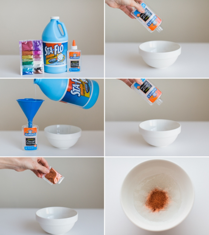 how to make slime with glue and detergent, mixing the ingredients in a bowl, adding food coloring, and mixing everything together