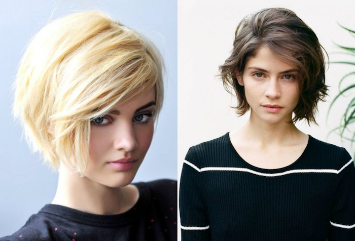 haircuts for fine thin hair, two young women, with short bobs, in blonde and brunette, straight with side bangs, and messy and wavy respectively