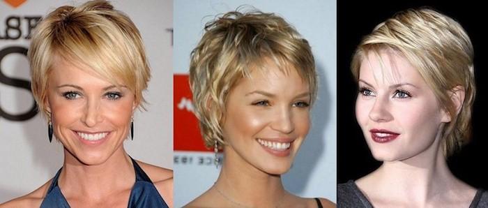 collage of three photos, showing smiling blonde women, with pixie cuts, long side bangs, textured and layered, side-swept and tucked behind the ear