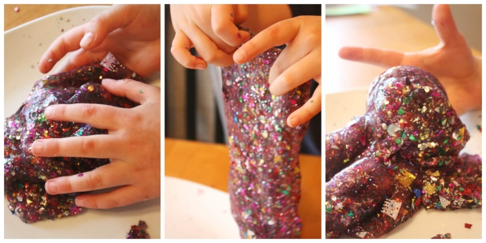 confetti and glitter, and other decorations, inside a pile of purple goo, kneaded by small hands, slime recipe with borax
